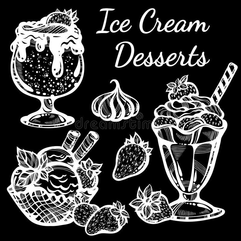 Pociągany ręcznie lodów desery inkasowi pięknie Wektorowej grafiki ikony, rocznika konturu karmowi elementy odizolowywający ilustracja wektor