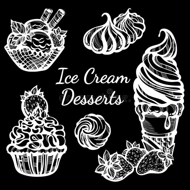 Pociągany ręcznie lodów desery inkasowi pięknie Wektorowej grafiki ikony, rocznika konturu karmowi elementy odizolowywający ilustracji