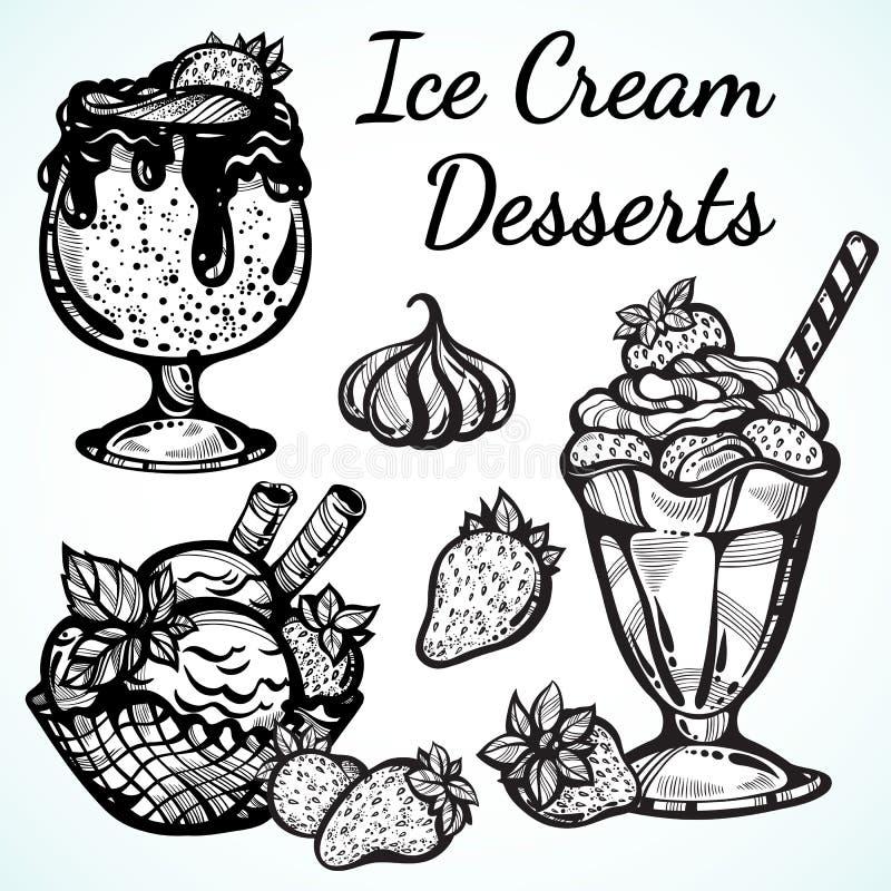 Pociągany ręcznie lodów desery inkasowi pięknie Wektorowej grafiki ikony, rocznika konturu karmowi elementy odizolowywający royalty ilustracja