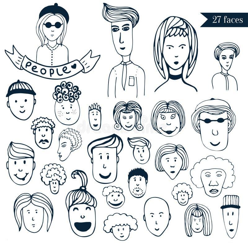 Pociągany ręcznie ludzie tłumu doodle kolekci avatars 27 różnych śmiesznych twarzy Kreskówka wektoru set podaniowi ikon internetó royalty ilustracja