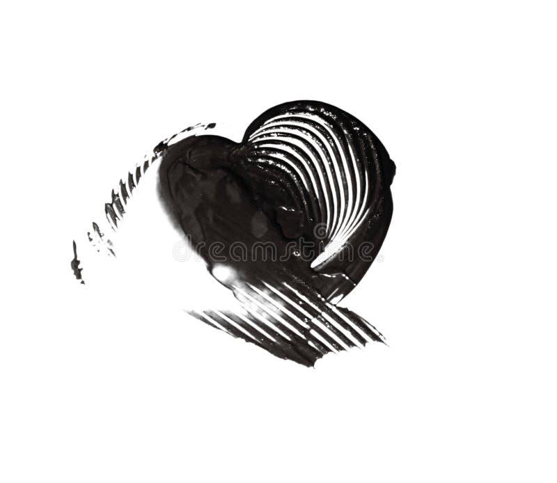 Pociągany ręcznie malujący czarny serce royalty ilustracja