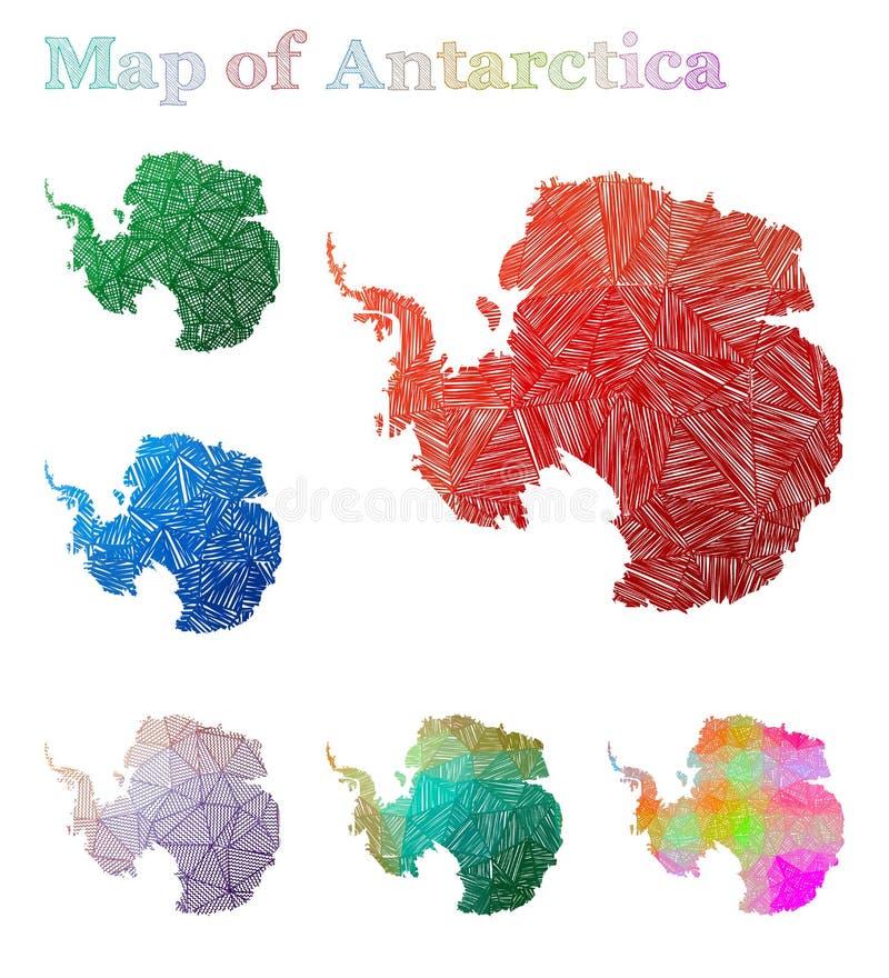 Pociągany ręcznie mapa Antarctica ilustracja wektor