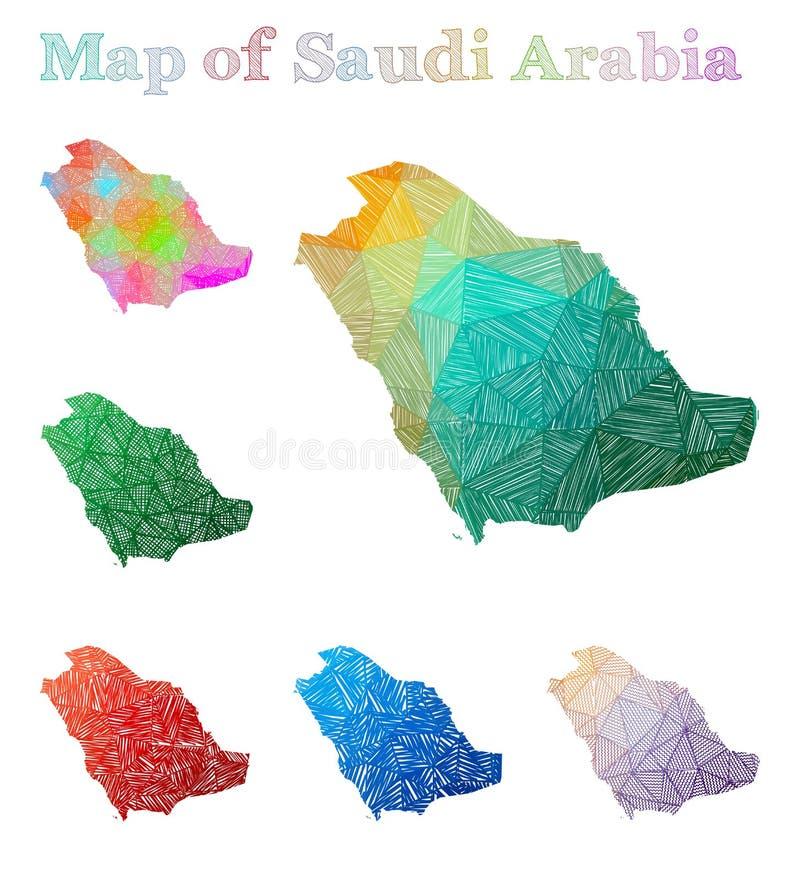 Pociągany ręcznie mapa Arabia Saudyjska ilustracja wektor