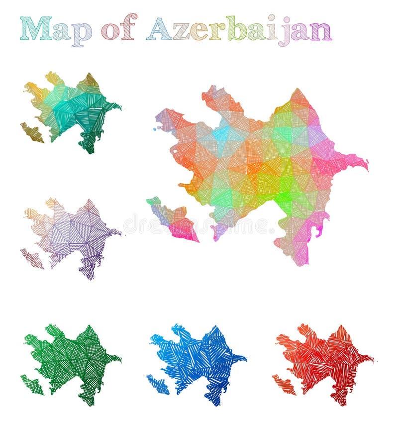 Pociągany ręcznie mapa Azerbejdżan ilustracja wektor