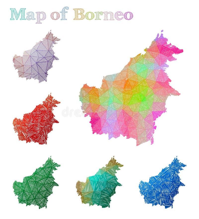 Pociągany ręcznie mapa Borneo royalty ilustracja