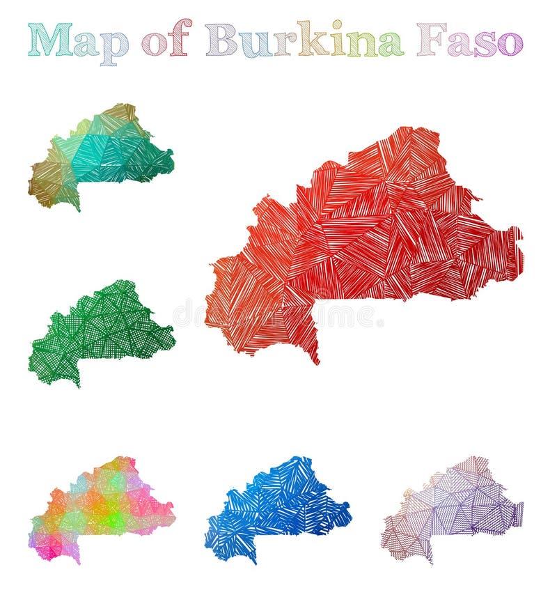 Pociągany ręcznie mapa Burkina Faso royalty ilustracja
