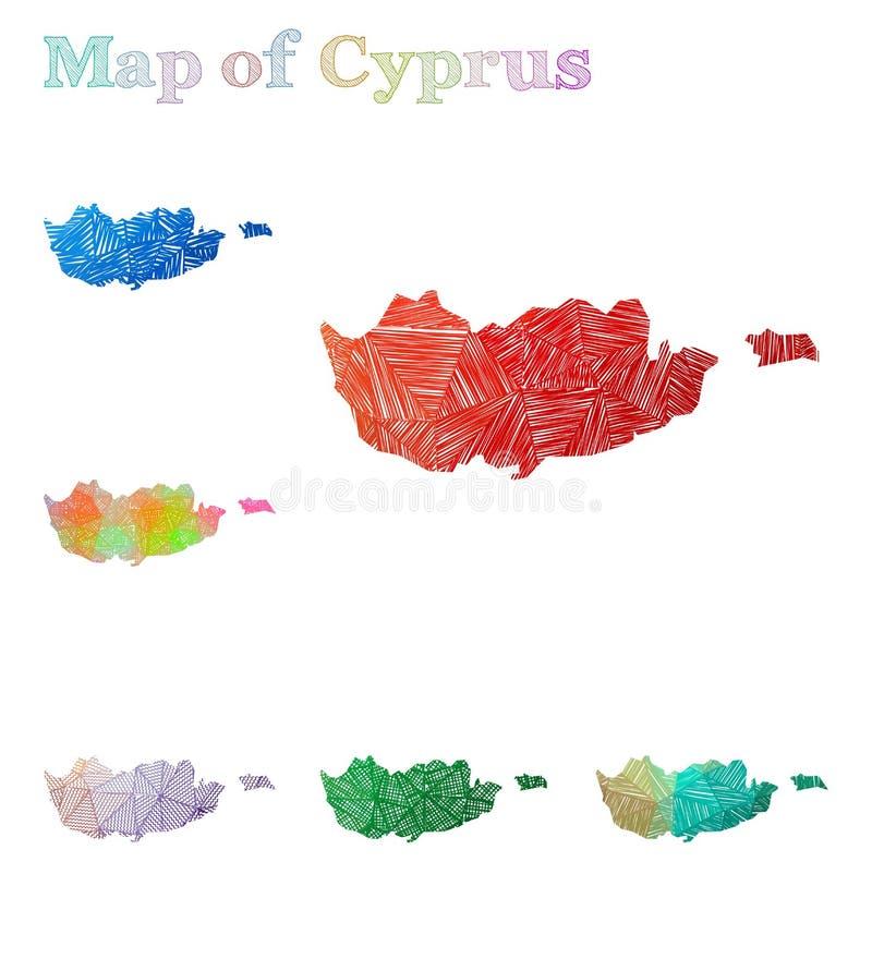 Pociągany ręcznie mapa Cypr ilustracji