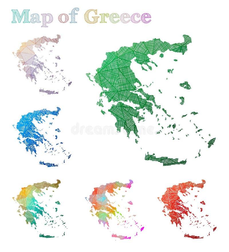 Pociągany ręcznie mapa Grecja royalty ilustracja