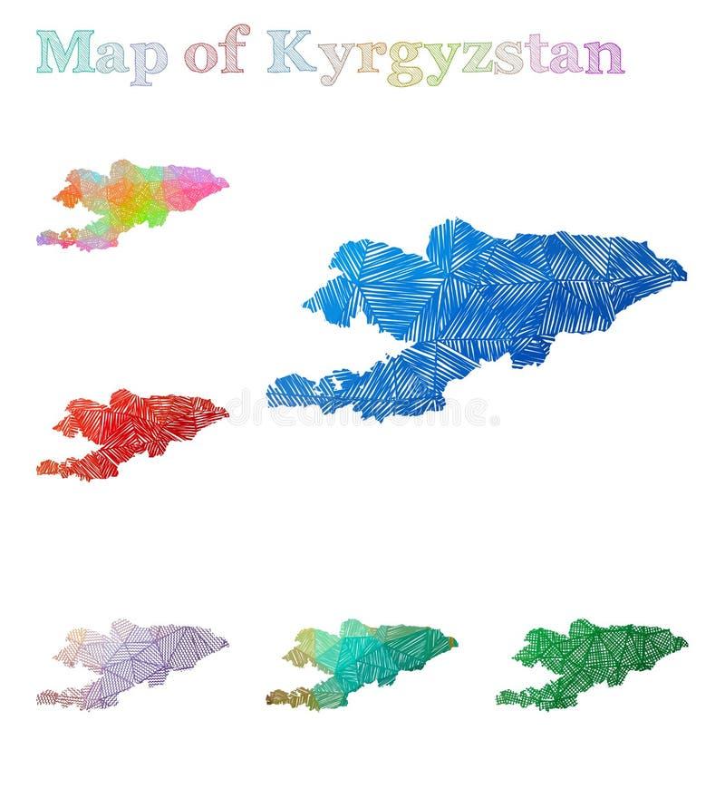 Pociągany ręcznie mapa Kirgistan royalty ilustracja