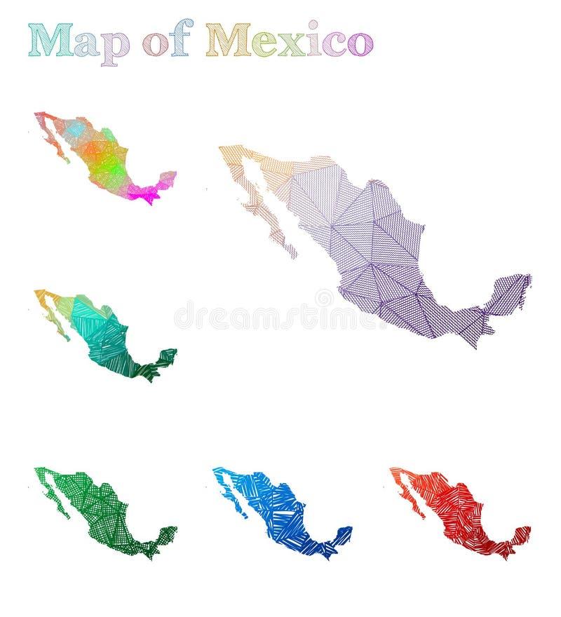 Pociągany ręcznie mapa Meksyk ilustracja wektor