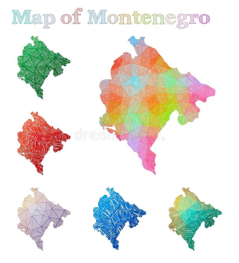 Pociągany ręcznie mapa Montenegro royalty ilustracja