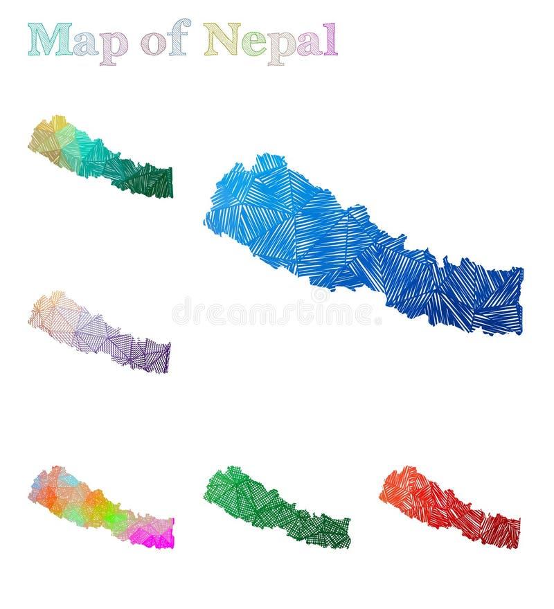 Pociągany ręcznie mapa Nepal ilustracji