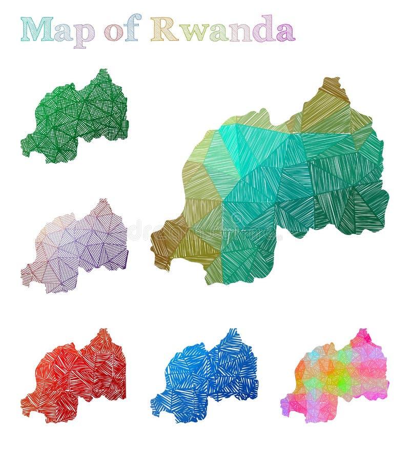 Pociągany ręcznie mapa Rwanda royalty ilustracja