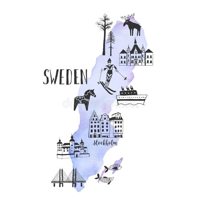 Pociągany ręcznie mapa z sławnymi punktami zwrotnymi Szwecja ilustracji