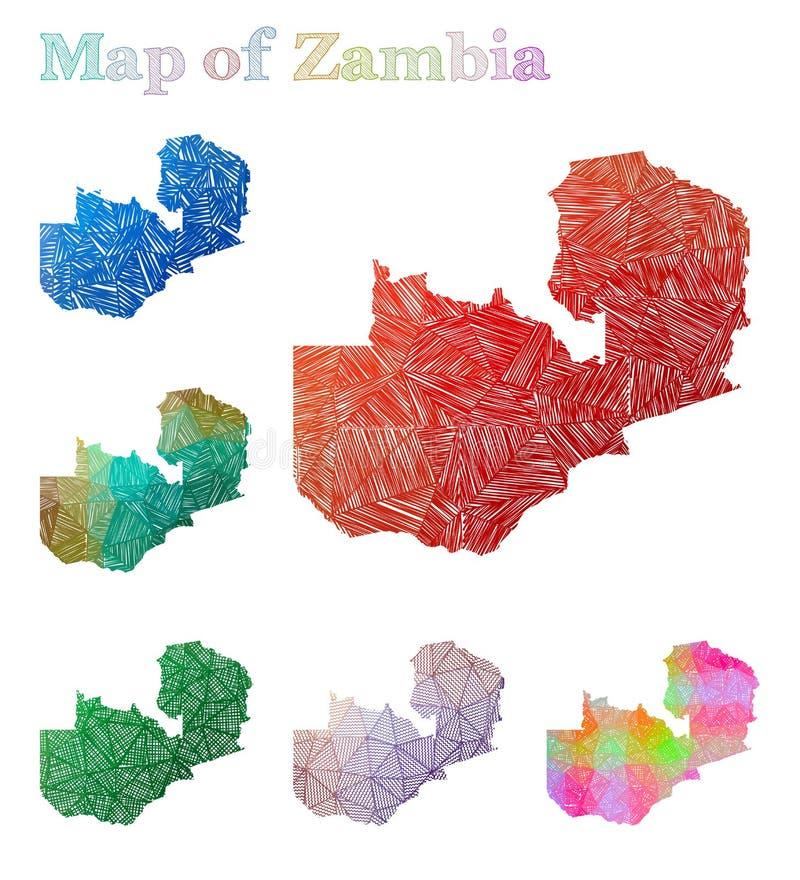 Pociągany ręcznie mapa zambiowie ilustracji
