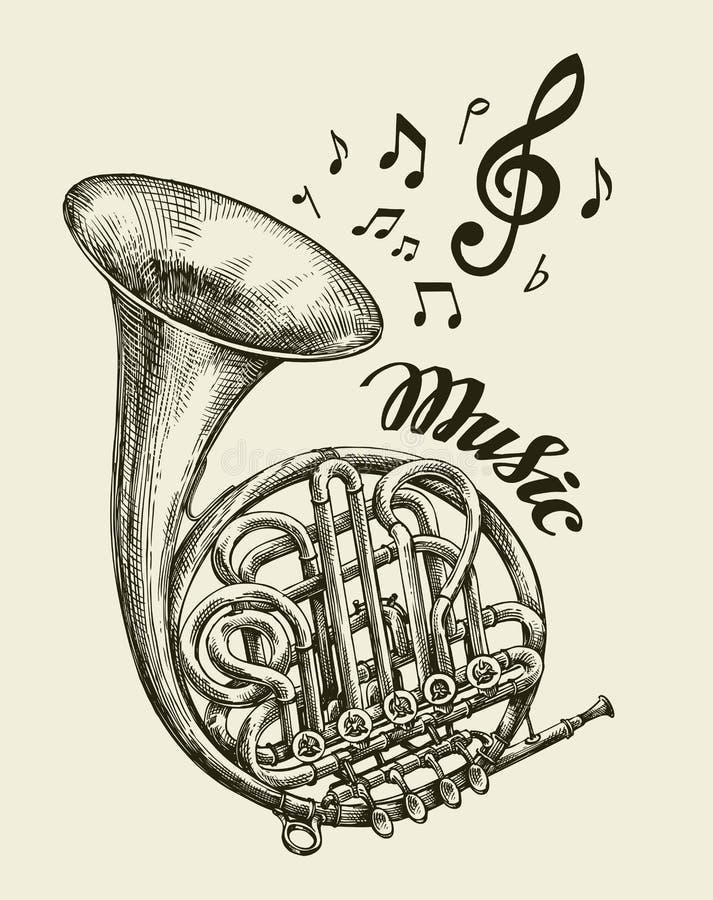 Pociągany ręcznie muzykalny francuski róg Nakreślenie rocznika trąbka również zwrócić corel ilustracji wektora ilustracja wektor
