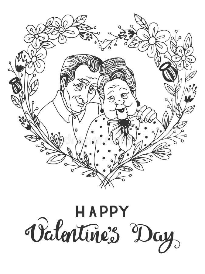Pociągany ręcznie nakreślenia kartka z pozdrowieniami dla walentynki ` s dnia z kreskówki szczęśliwą starą parą wpólnie royalty ilustracja