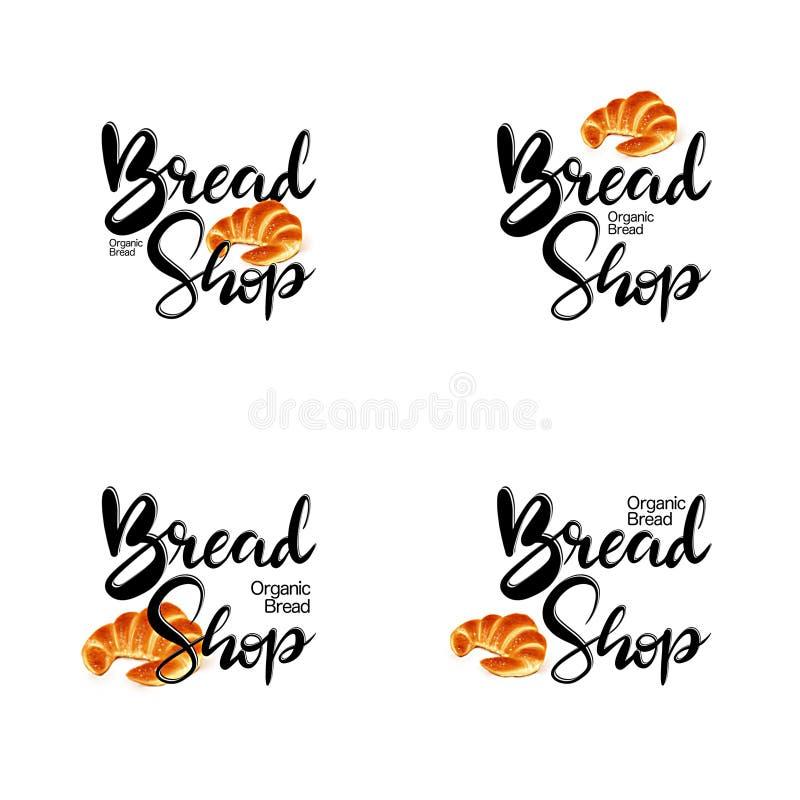 Pociągany ręcznie nakreślenie cztery logo opcji dla piekarni ilustracji
