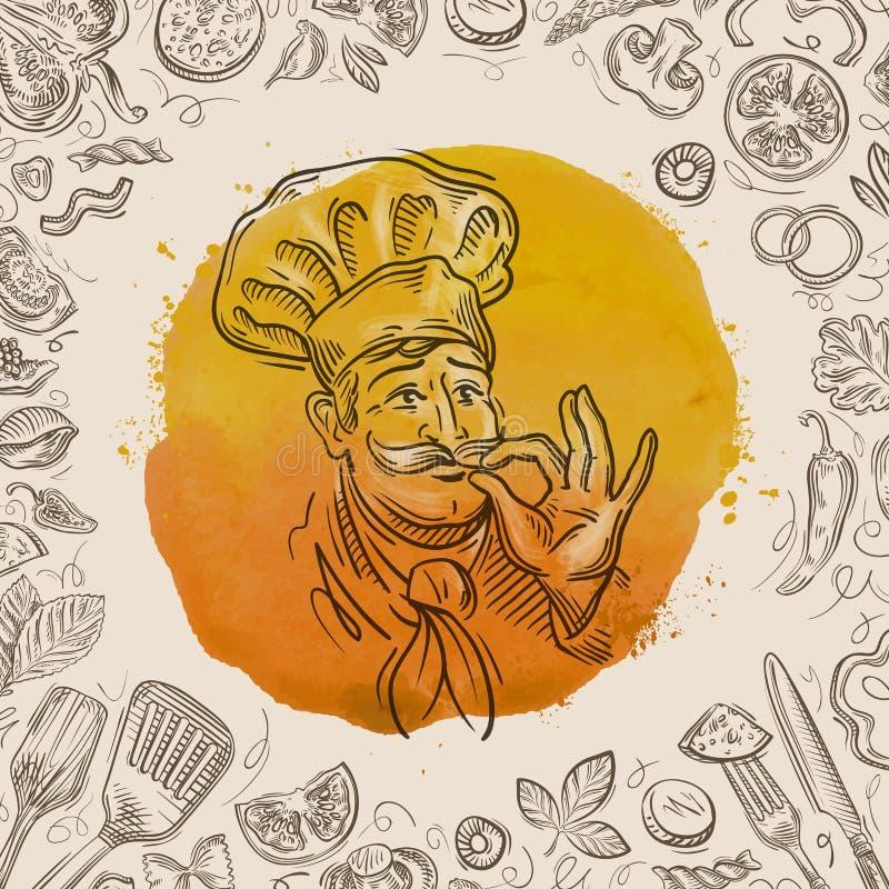 Pociągany ręcznie nakreślenie szczęśliwy szef kuchni i jedzenie również zwrócić corel ilustracji wektora royalty ilustracja
