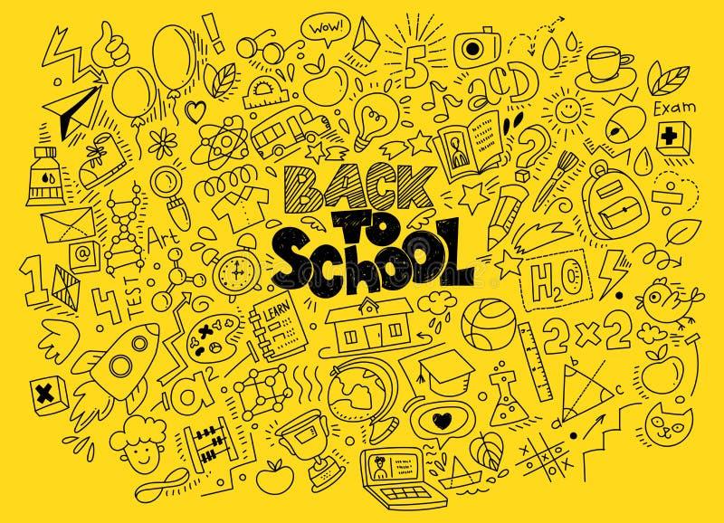 Pociągany ręcznie plecy szkół doodles ilustracji