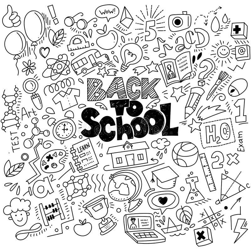 Pociągany ręcznie plecy szkół liniowi doodles royalty ilustracja