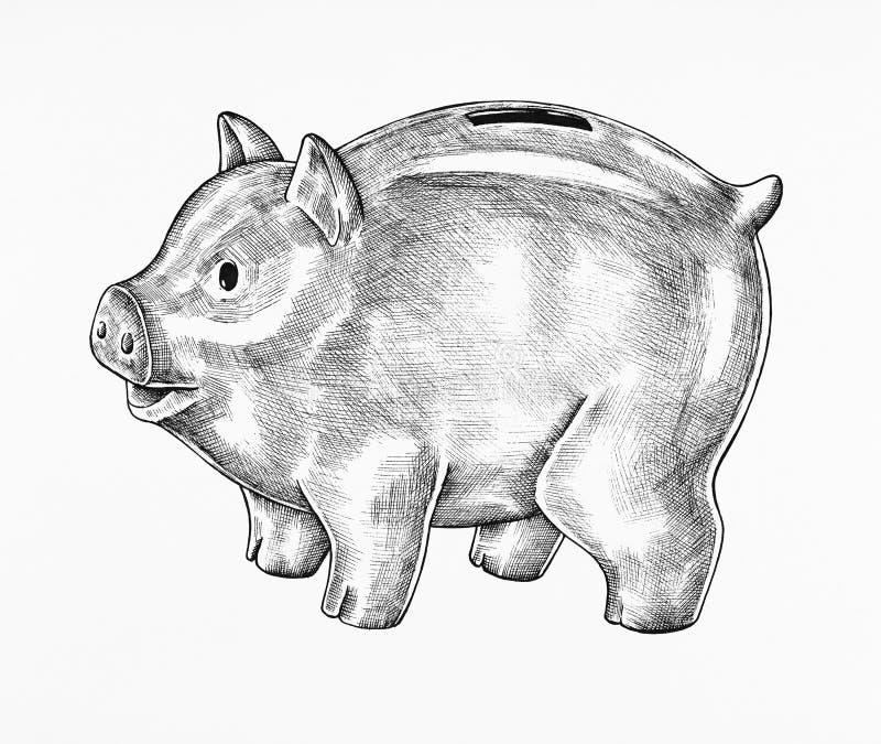 Pociągany ręcznie popielata prosiątko banka ilustracja royalty ilustracja