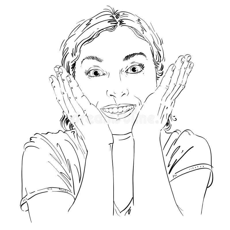 Pociągany ręcznie portret skóra zaskakiwał szczęśliwej kobiety, gesturi ilustracji