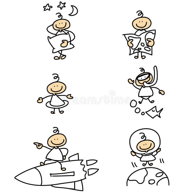 Pociągany ręcznie postać z kreskówki ilustracji