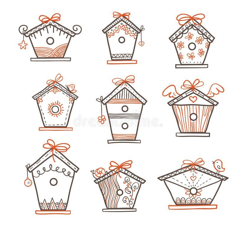 Pociągany ręcznie ptasi pudełka ilustracja wektor