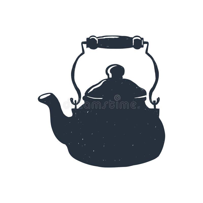Pociągany ręcznie rocznika czajnik błyskowy laptopu światła nakreślenia styl również zwrócić corel ilustracji wektora Koszulka dr zdjęcie royalty free