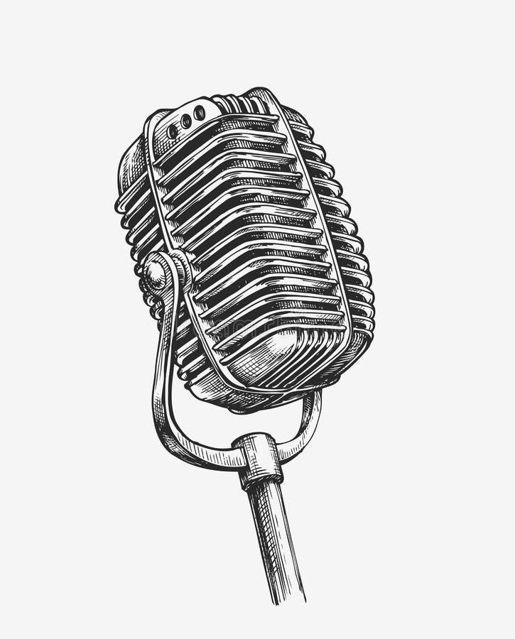 Pociągany ręcznie rocznika mikrofon Nakreślenia karaoke również zwrócić corel ilustracji wektora ilustracja wektor