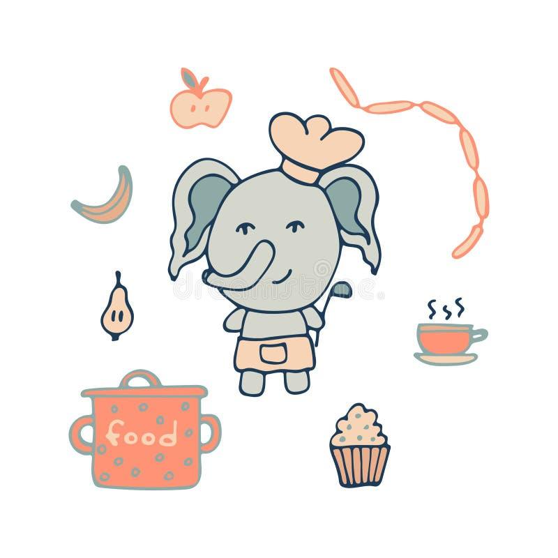 Pociągany ręcznie słoń kucharz z porci łyżką, produktami i ilustracja wektor