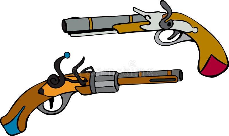 Pociągany ręcznie starzy pistole z drewnianą rękojeścią royalty ilustracja
