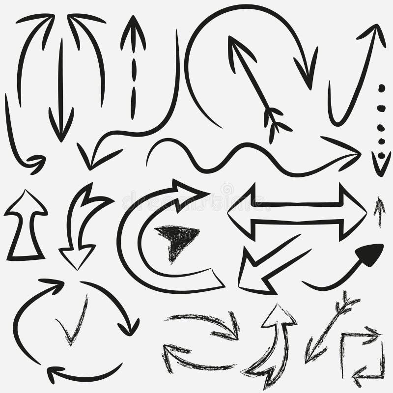 Pociągany ręcznie strzała Set przewdoników pointery Atrament, grunge wektor ilustracji