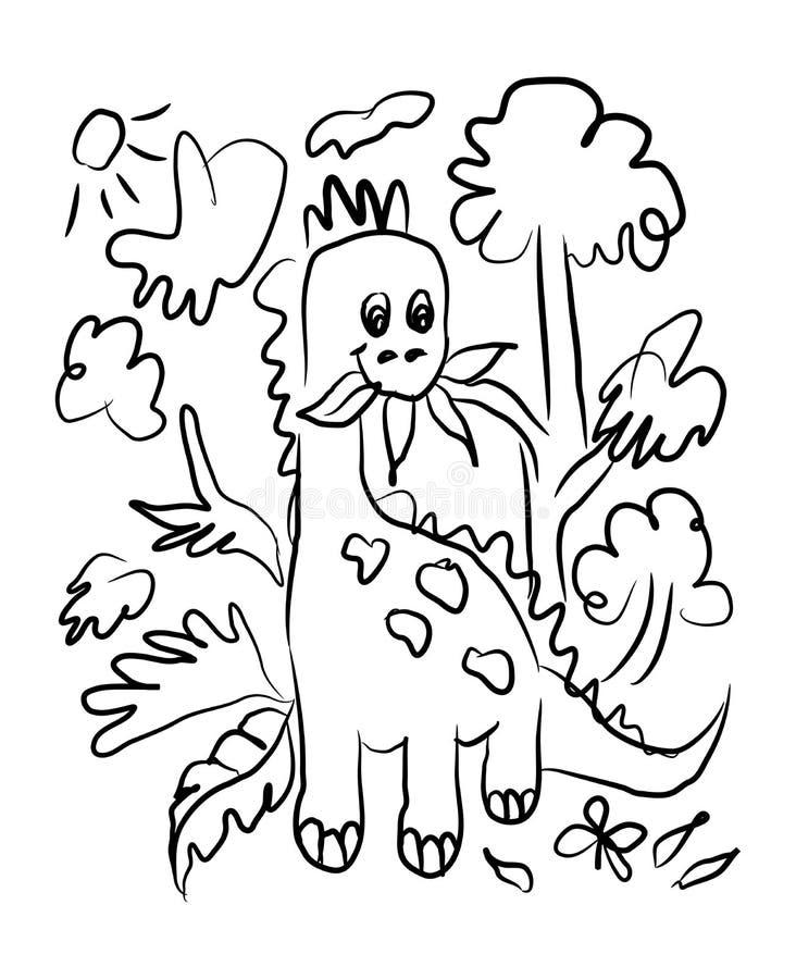 Pociągany ręcznie wektorowy nakreślenie szczęśliwy mały Dino ilustracji