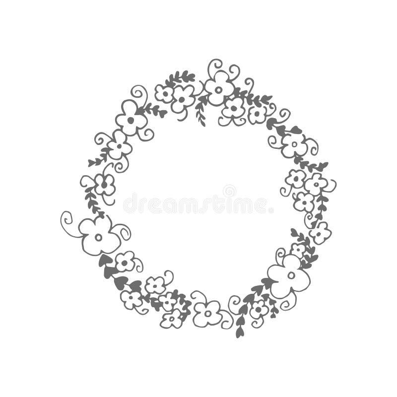 Pociągany ręcznie wianek z kwiatami, liśćmi i kędziorami, ilustracji