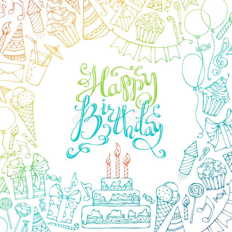 Pociągany ręcznie wszystkiego najlepszego z okazji urodzin kwadrata tło royalty ilustracja