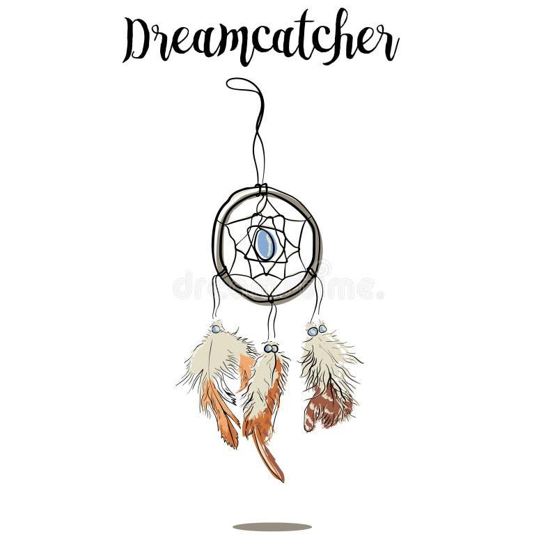 Pociągany ręcznie z atramentu dreamcatcher z piórkami Etniczna ilustracja, plemiennych, Amerykańskich indianów tradycyjny symbol, ilustracji