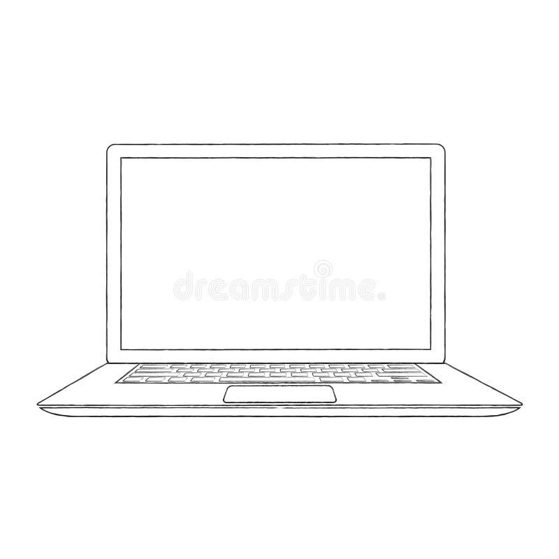 Pociągany ręcznie zarysowana laptopu wektoru ilustracja
