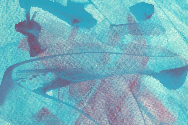 Pociągnięcia pędzlem turkusowym i jasnoniebieskim na różowym tle Mazy wielokolorowe, kreatywna mieszanka kolorów royalty ilustracja