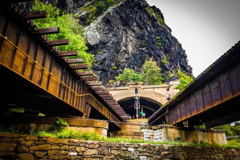 Pociągu tunel w harfiarza promu i mosty, Zachodnia Virginia obrazy stock