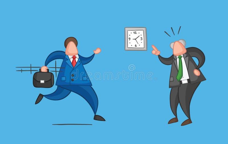 Poci?gany r?cznie wektorowy biznesmena pracownik p??no dla pracy i gniewnego szefa pokazuje on jaki czas jest mn? royalty ilustracja