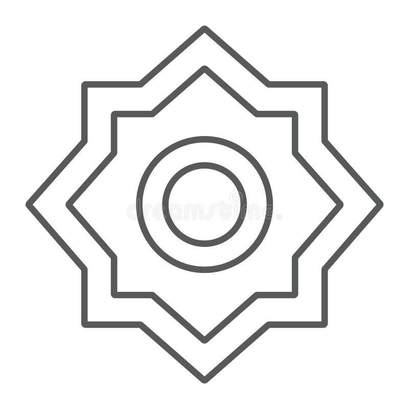 Pocierania el hizb cienka kreskowa ikona i symbol, arabski, język arabski gwiazdy znak, wektorowe grafika, liniowy wzór na bielu royalty ilustracja