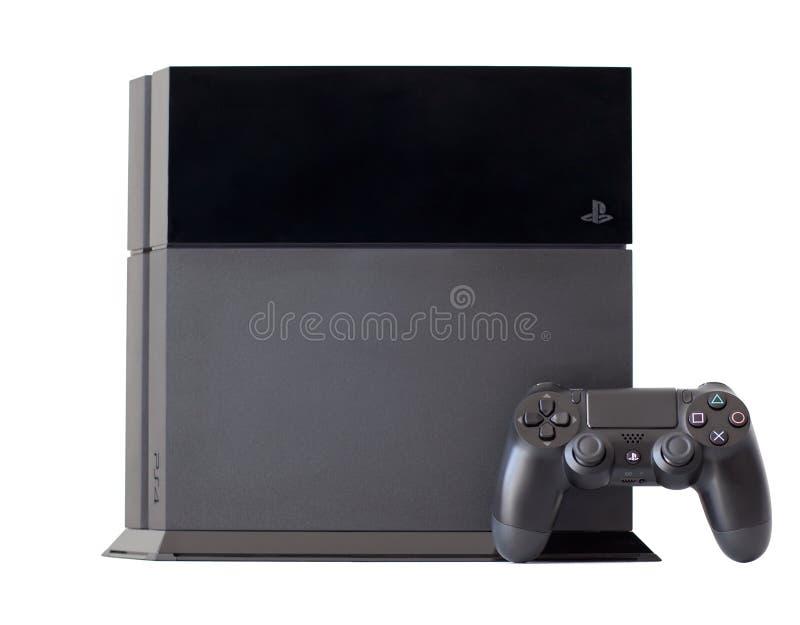Pociesza Sony PlayStation 4 z joystickiem DualShock 4 zdjęcia stock