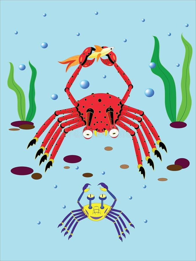 pocieszni kraby ilustracji