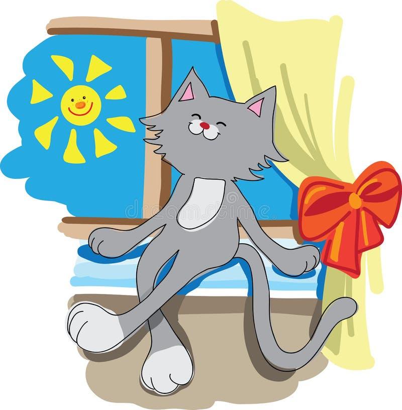 Pocieszny kot na nadokiennym parapecie zdjęcia royalty free