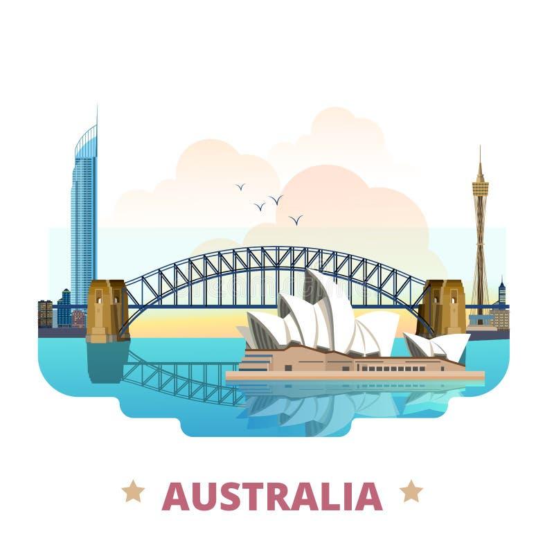 Pocilga plana de la historieta de la plantilla del diseño del país de Australia stock de ilustración