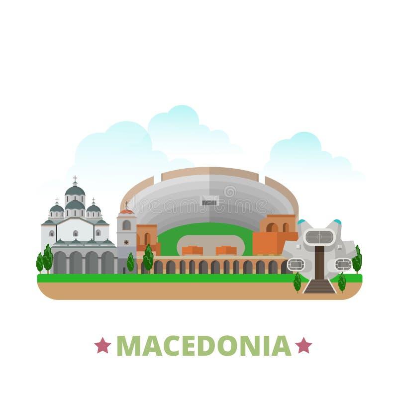 Pocilga plana de la historieta de la plantilla del diseño del país de Macedonia stock de ilustración