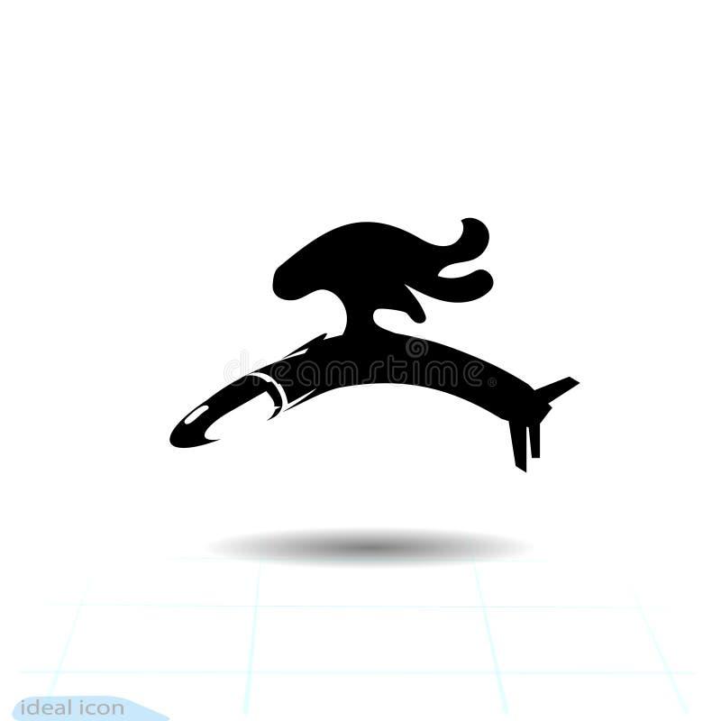 Pocisk manewrujący ikona, wypełniający mieszkanie znak, stały piktogram odizolowywający na bielu Symbol, logo ilustracja ilustracja wektor