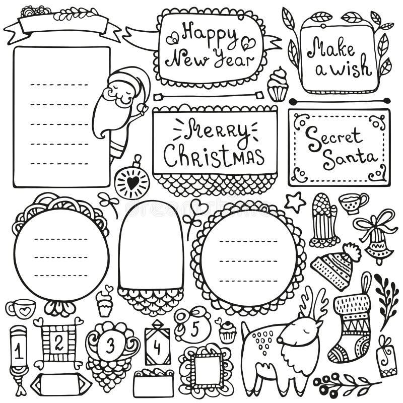Pociska czasopismo i bożego narodzenia doodle wektoru elementy ilustracji